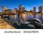 Boston Skyline At Dusk As...