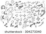 vector hand drawn arrows set... | Shutterstock .eps vector #304273340