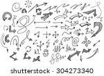 vector hand drawn arrows set... | Shutterstock .eps vector #304273340