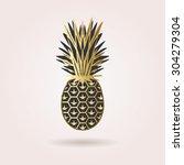 single black and golden... | Shutterstock .eps vector #304279304
