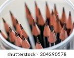 stack of sharpened pencils in... | Shutterstock . vector #304290578