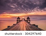 landscape of wooded bridge in...   Shutterstock . vector #304297640