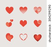 vector set of heart | Shutterstock .eps vector #304299290