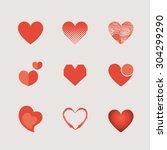 vector set of heart | Shutterstock .eps vector #304299290