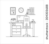 home workplace thin line flat...   Shutterstock .eps vector #304303688