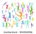 people jumping win win  | Shutterstock .eps vector #304306586