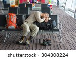 airport lounge and people... | Shutterstock . vector #304308224