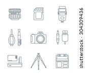 grey outline various digital...   Shutterstock . vector #304309436
