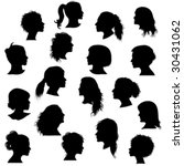 black silhouette woman profile  ... | Shutterstock .eps vector #30431062