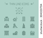 construction thin line icon set ... | Shutterstock .eps vector #304320704