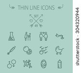 medicine thin line icon set for ... | Shutterstock .eps vector #304320944