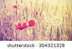 Vintage Toned Poppy Flowers At...