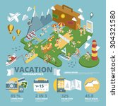 vacation infographics | Shutterstock .eps vector #304321580