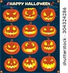vintage halloween poster design ... | Shutterstock .eps vector #304324286
