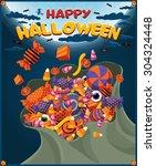 vintage halloween poster design ...   Shutterstock .eps vector #304324448