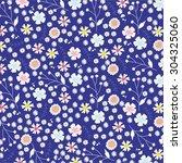 vintage floral pattern on blue... | Shutterstock . vector #304325060