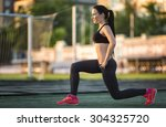 squatting.young beauty girl do...   Shutterstock . vector #304325720
