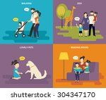 happy parents are playing with... | Shutterstock . vector #304347170