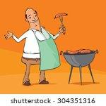 vector illustration of a man... | Shutterstock .eps vector #304351316