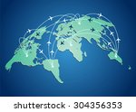 world map with flight routes... | Shutterstock .eps vector #304356353