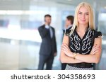 business woman standing in... | Shutterstock . vector #304358693
