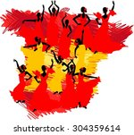 flamenco dancer over spanish...   Shutterstock . vector #304359614