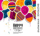 vector birthday card with paper ... | Shutterstock .eps vector #304362548