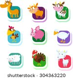 farm animals   vector icon   Shutterstock .eps vector #304363220