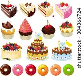 set of sweets and cakes  ...