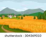 vector village flat cartoon... | Shutterstock .eps vector #304369010