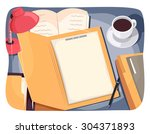 illustration of a study table... | Shutterstock .eps vector #304371893