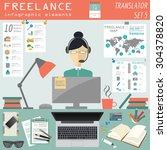 freelance infographic template. ... | Shutterstock .eps vector #304378820