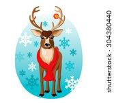 Vector Cartoon Reindeer With...