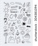 travel hand drawn cartoon set... | Shutterstock .eps vector #304381094