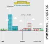 vector city scape  scheme for... | Shutterstock .eps vector #304381733