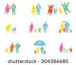 set of colored people... | Shutterstock .eps vector #304386680