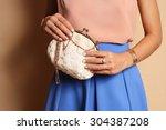 tender outfit girl in blue... | Shutterstock . vector #304387208
