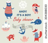 baby shower invitation with... | Shutterstock .eps vector #304388030
