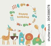 birthday card with africa... | Shutterstock .eps vector #304388078