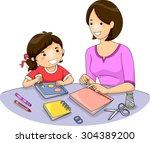 illustration of a mother... | Shutterstock .eps vector #304389200
