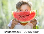 Funny Kid Eating Watermelon...