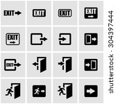 vector black exit icon set. | Shutterstock .eps vector #304397444