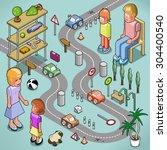 parents teaching traffic rules... | Shutterstock .eps vector #304400540