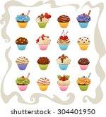 illustration of set yummy... | Shutterstock .eps vector #304401950