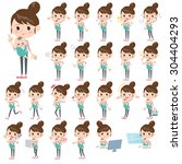 set of various poses of mother... | Shutterstock .eps vector #304404293