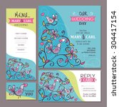 set of cute wedding cards... | Shutterstock .eps vector #304417154