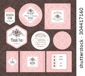 set of floral wedding cards... | Shutterstock .eps vector #304417160