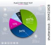 pie chart   business statistics ... | Shutterstock .eps vector #304421828