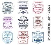 denim typography emblems... | Shutterstock .eps vector #304425329