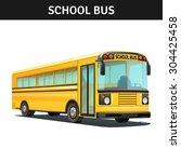 yellow empty school bus design... | Shutterstock .eps vector #304425458